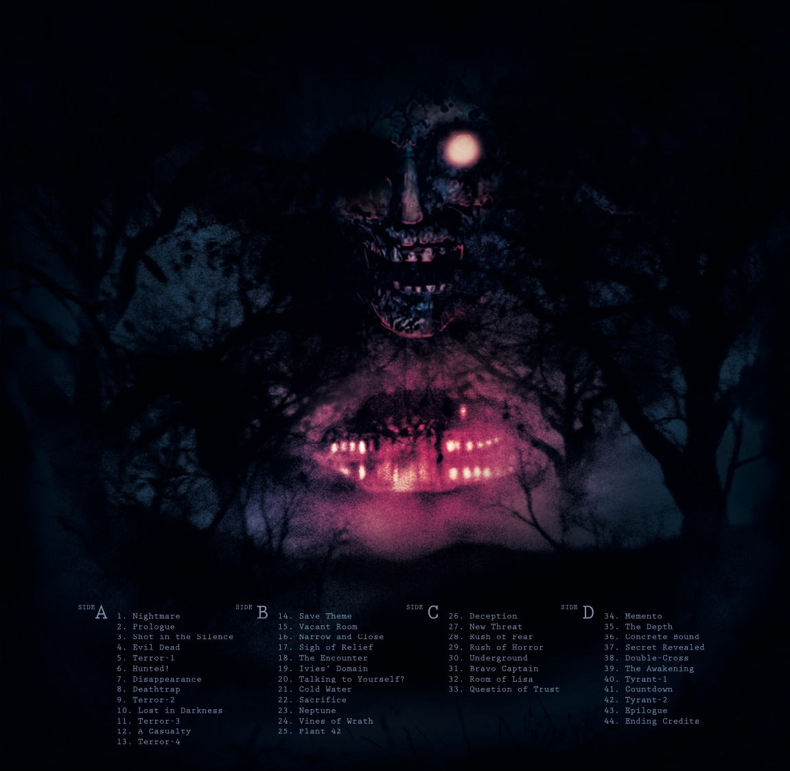The back cover of the Resident Evil vinyl.