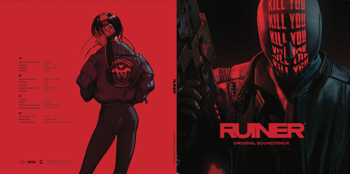 The RUINER soundtrack vinyl (left) back cover, (right) front cover