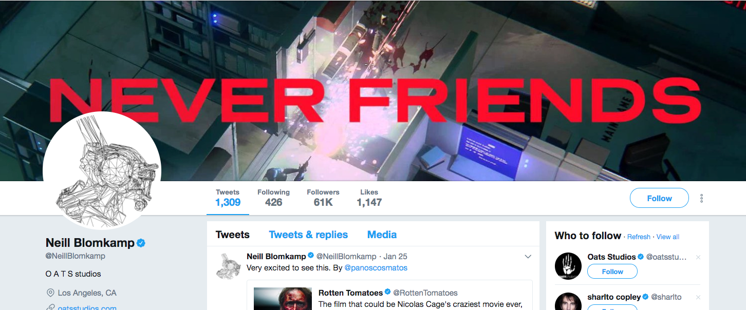 District 9 director Neill Blomkamp has a RUINER marketing image as his Twitter profile header