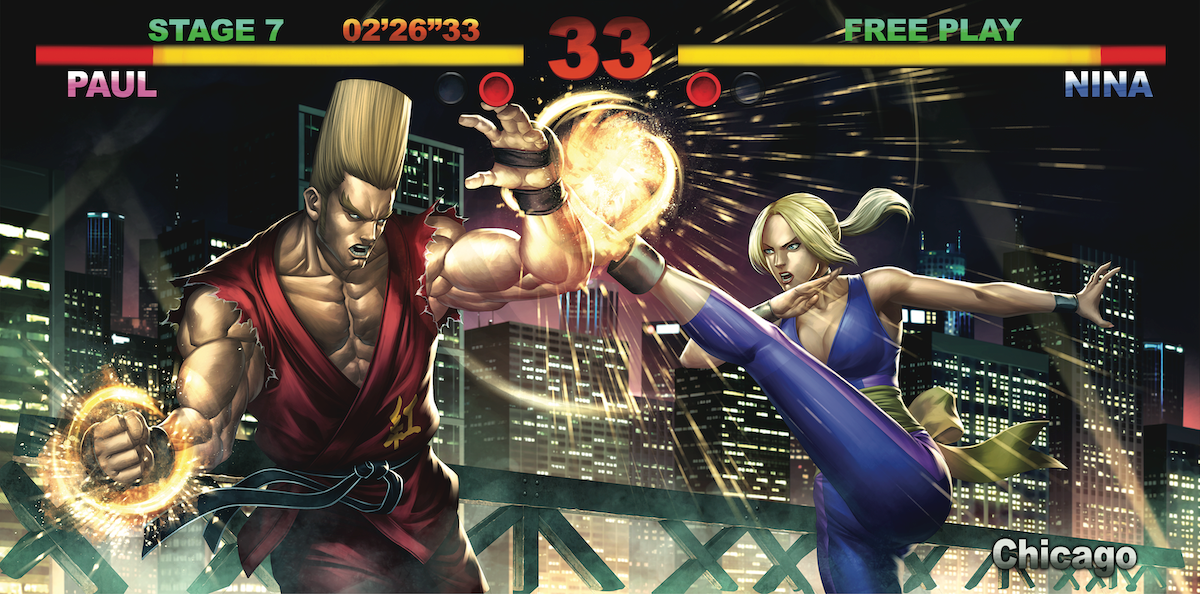 The gatefold sleeve artwork by Samuel Donato AKA DXSinfinite for the TEKKEN (Original Soundtrack) vinyl.