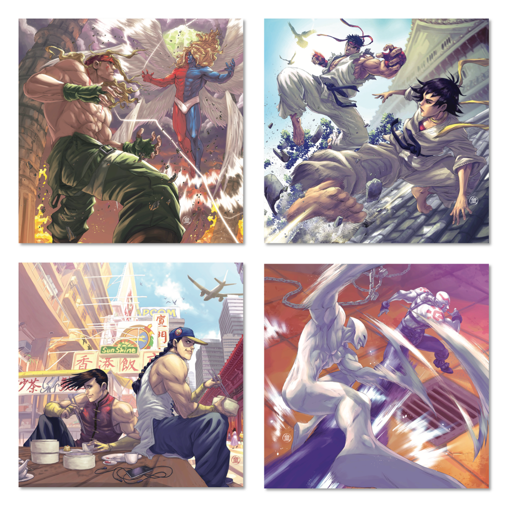 Four panels from the Street Fighter 3 vinyl set, showing various characters