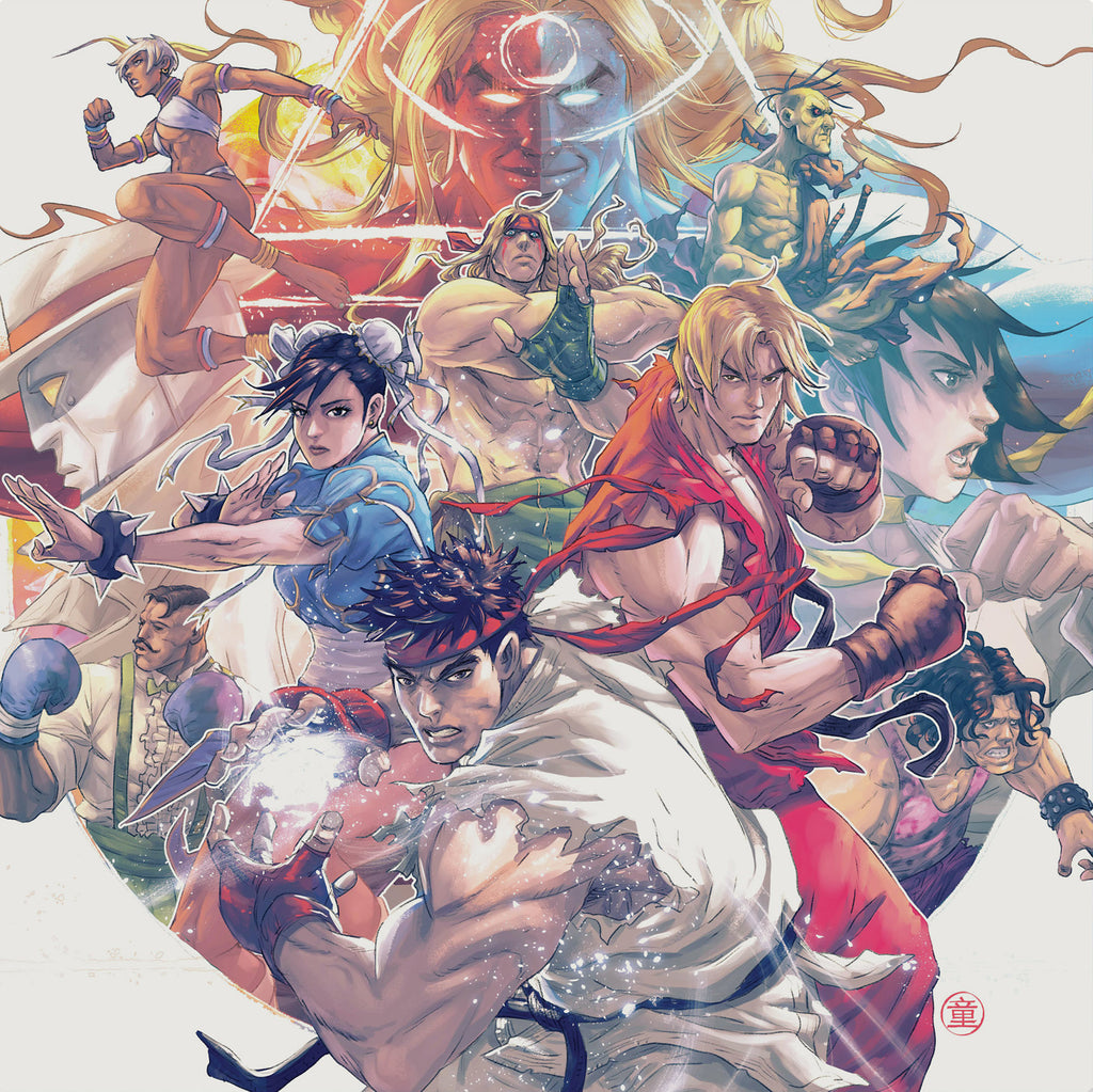 Andie Tong's front cover for the Street Fighter III: The Collection quadruple LP vinyl.