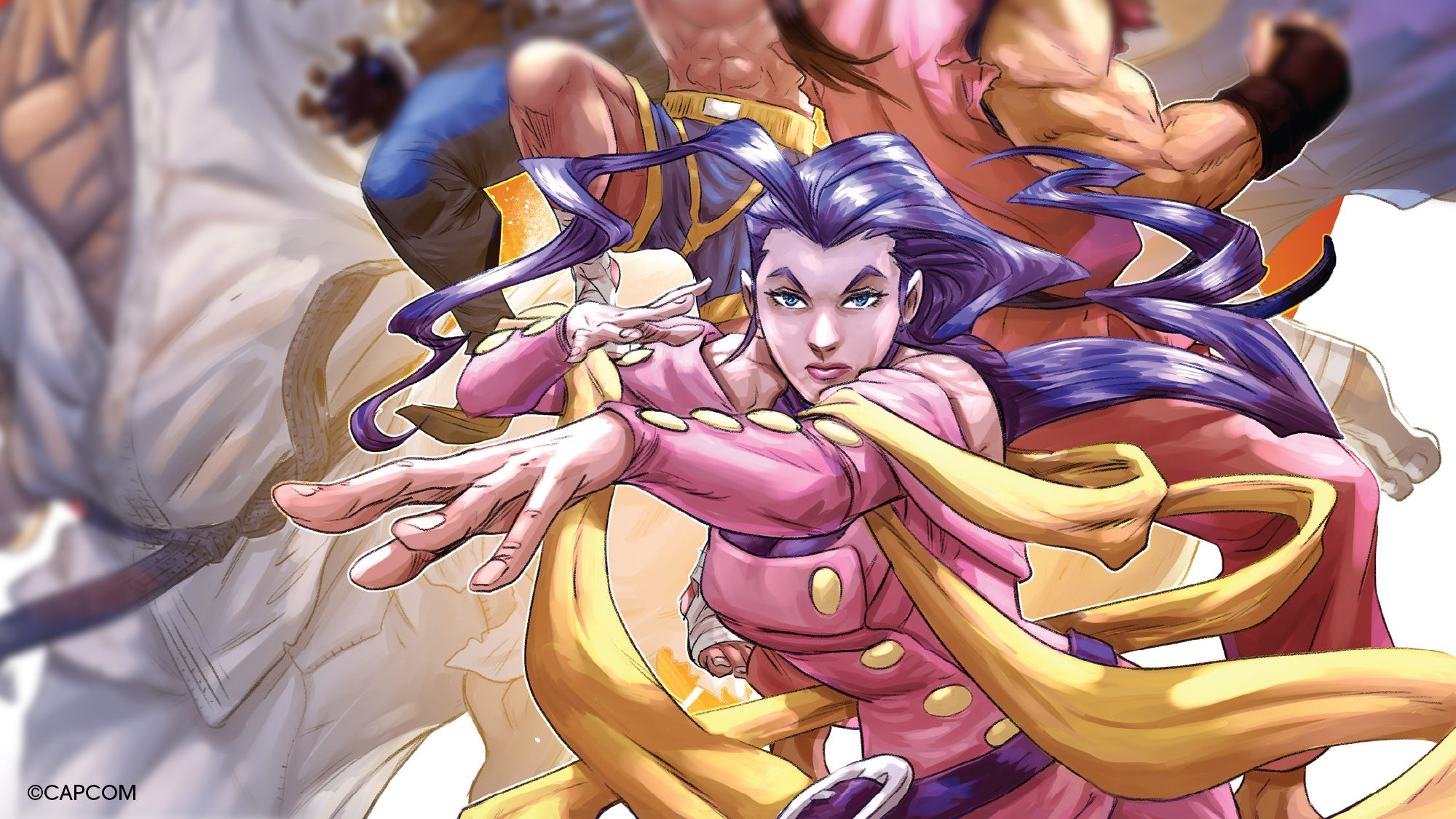 A close-up of Rose from Andie Tong's front cover for the Street Fighter Alpha: Warriors' Dreams double LP.
