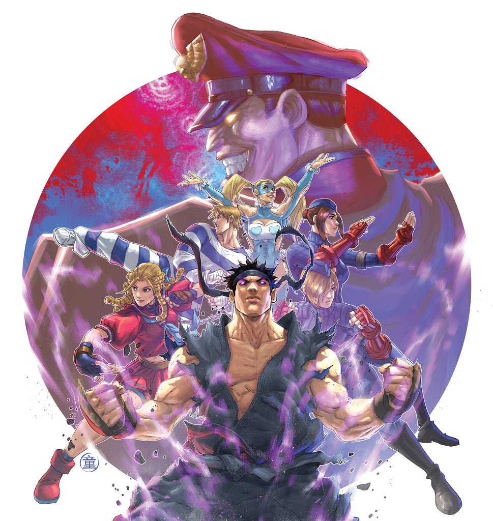 Andie tong's front cover for the Street Fighter Alpha 3 triple LP vinyl.