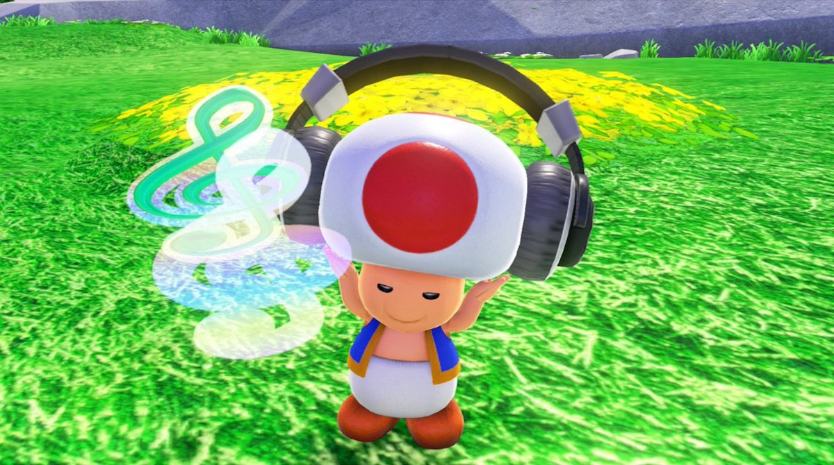 Toad from the Super Mario series, catching some good vibes from video game music