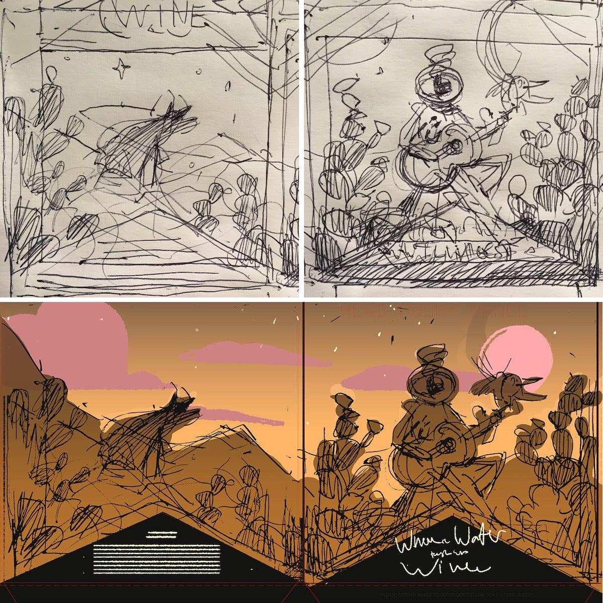 Sketches by Kellan Jett for the Where The Water Tastes Like Wine vinyl