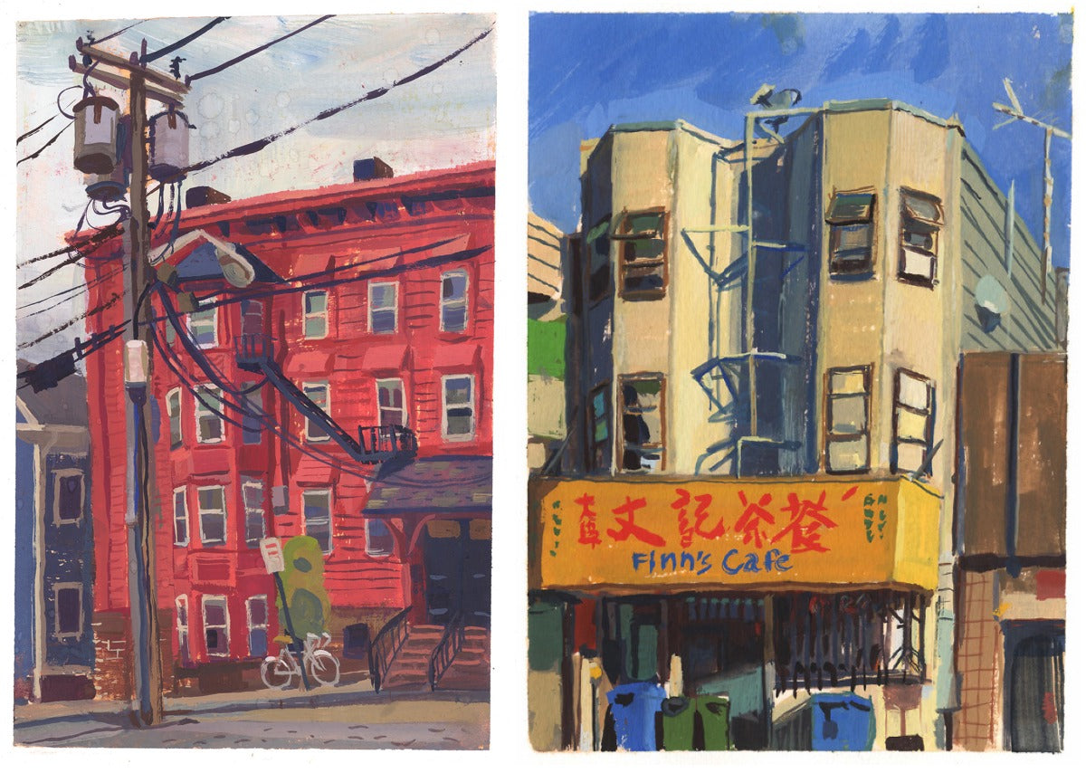 Plein air (i.e. outdoor) gouache (i.e. watercolour) paintings by Kellan Jett; (left) Providence, Rhode Island; (right) San Francisco, California.