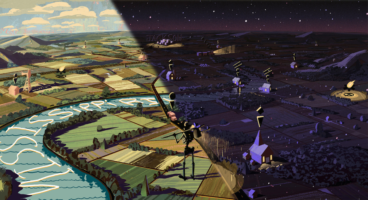 Jett's daytime and nighttime concept illustrations for the overworld map of Where The Water Tastes Like Wine — we've overlaid the nighttime version onto the daytime version to show the contrast.
