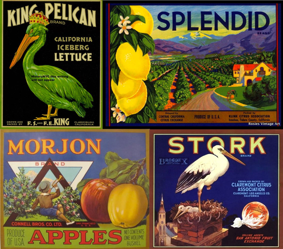 Mid-20th Century fruit crate labels.