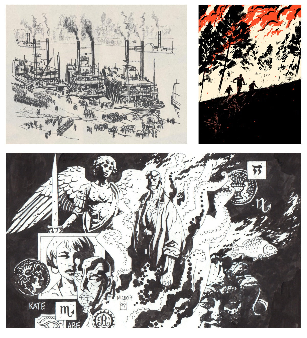 Illustrations by (top left) Noel Sickles; (top right) Patrick Leger; (bottom) Mike Mignola.