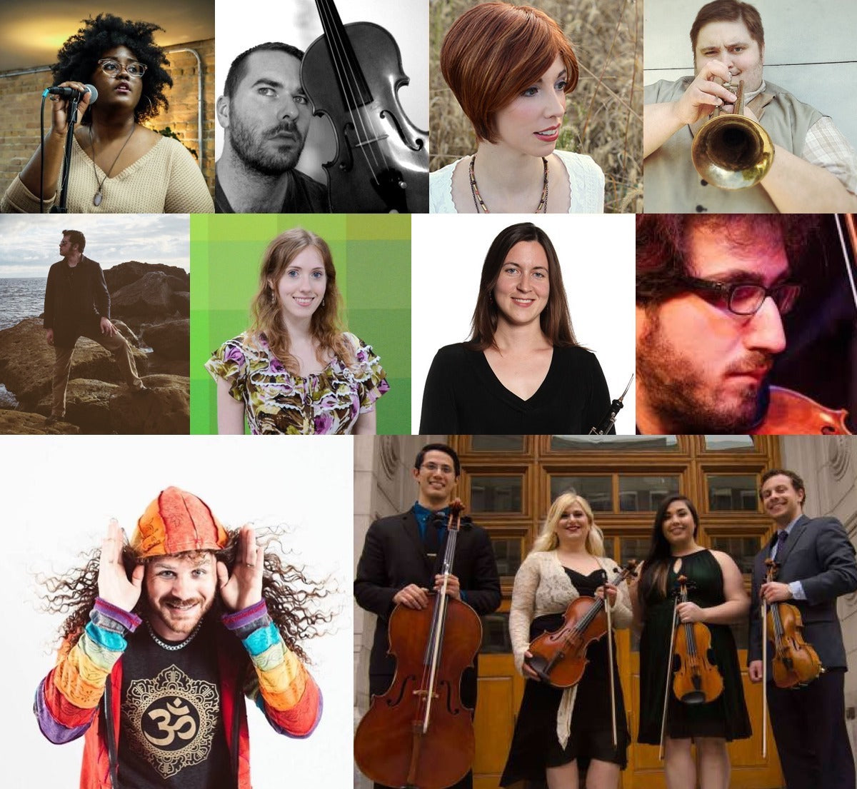 (top row from left) Akenya, Jeff Ball, Jillian Aversa and John Robert Matz; (middle row) Jose Daniel Ruiz, May Claire La Plante, Kristin Naigus and Max Wolpert; (bottom row) Joshua Du Chene and the Videri String Quartet)
