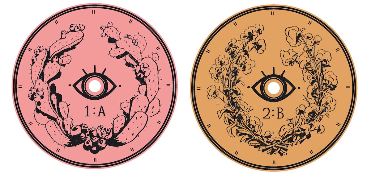 A couple of the disc labels by Kellan Jett for the Where the Water Tastes Like Wine soundtrack vinyl