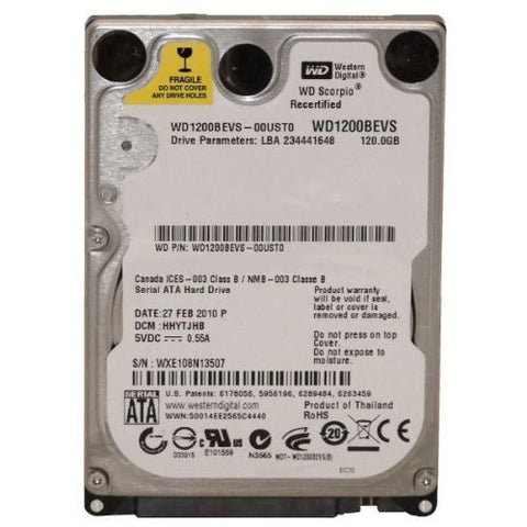 "120GB 2.5"" SATA Hard Drive Western Digital WD1200BEVS"