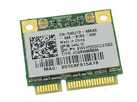 40J12 - Dell Vostro 1014 / 1015 / 1088 Atheros QMI305Draft N Wireless WiFi 802.11 a/b/g/n Half-Height Mini-PCI Express Card - 40J12