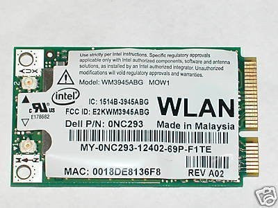 INTEL 3945ABG DELL 0NC293 WIFI 802.11 A/B/G MINI PCIE INTERNAL NETWORK CARD