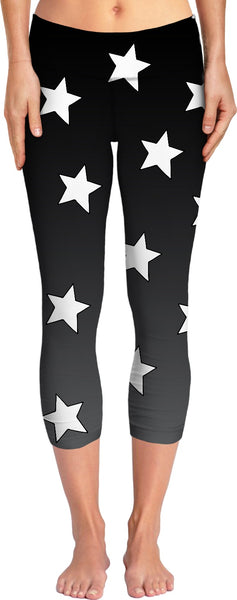 Big White Stars Gray Ombre Yoga Pants