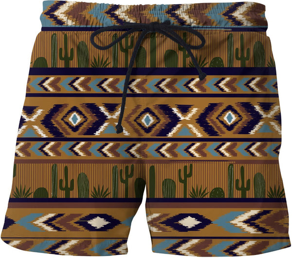 Cactus Dawn Aztec Swim Trunks