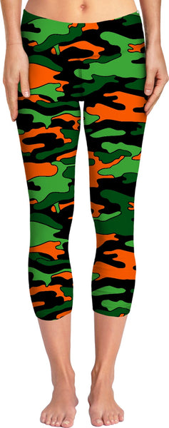 """Orange & Green Camo"" Yoga Pants"