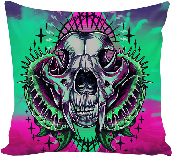 Cougar Skull Couch Pillow