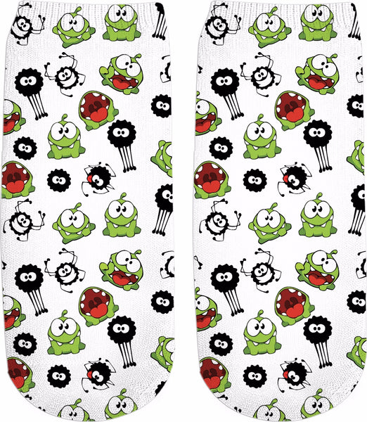 Om Nom & Spider Pattern Ankle Socks