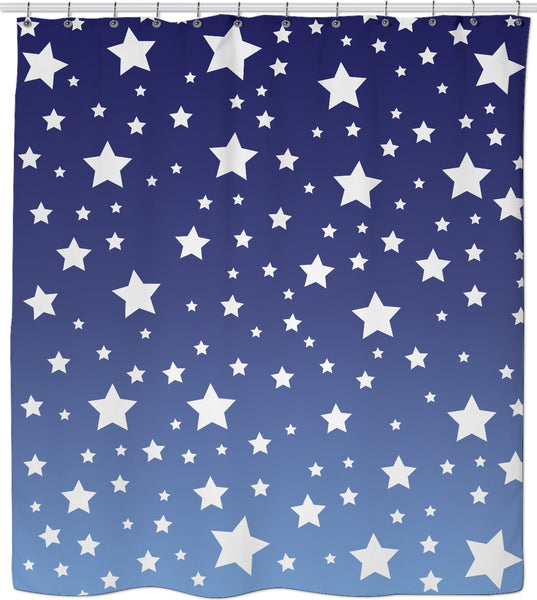 White Stars Blue Ombre Shower Curtain