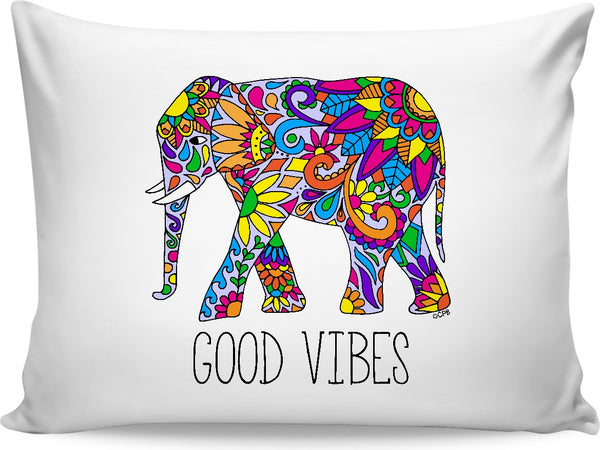 Colorful Tribal Elephant Good Vibes Pillowcase