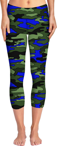 Green, Blue, Black Camo Yoga Pants
