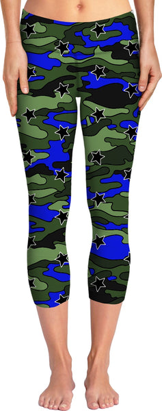 Green, Blue, Black Camo Stars Bikini Yoga Pants
