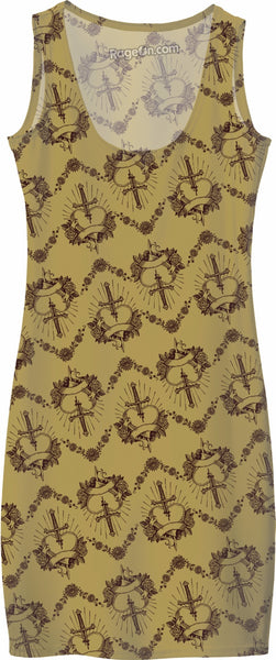 Gold Pierced Heart Pattern Simple Dress