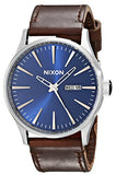 Nixon Sentry Leather Blue and Brown Watch