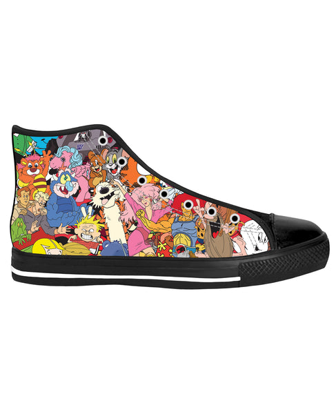 80's Cartoon Collage Black Sole High Top Shoes