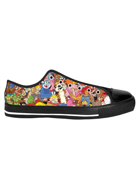 80's Cartoon Collage Black Sole Low Top Shoes