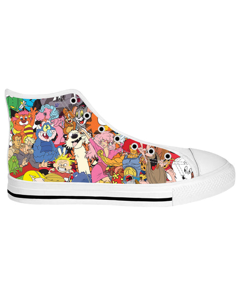 80's Cartoon Collage White Sole High Top Shoes
