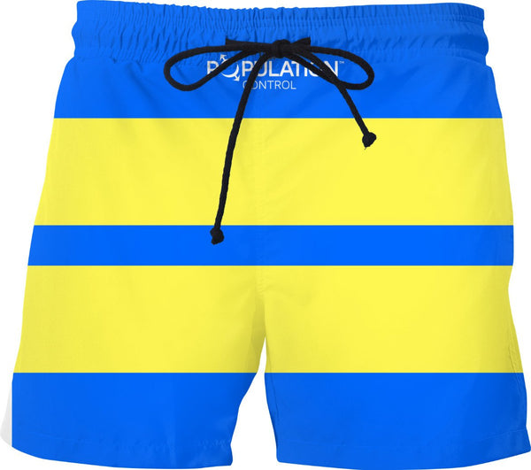 BLUE AND YELLOW STRIPES Swim Trunks