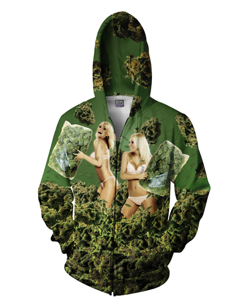420 Pillow Fight Zip-Up Hoodie