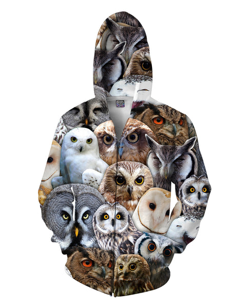 Owl Collage Zip-Up Hoodie