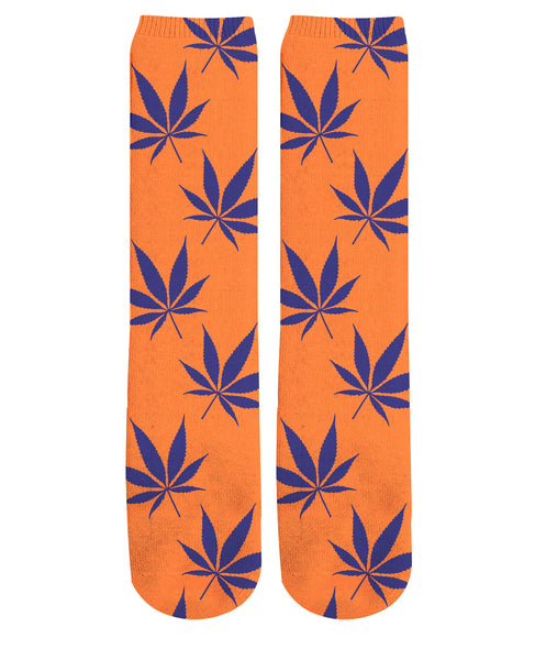 Orange Weed Knee-High Socks