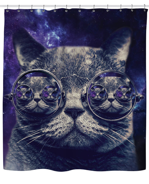 Hipster Cat Shower Curtain