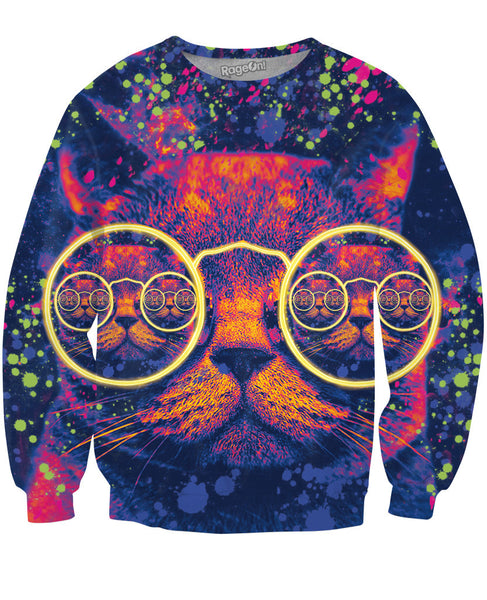 Hipster Cat Glow Party Crewneck Sweatshirt