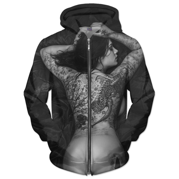 Black And White Girl With The Dragon Tattoo Hoodie