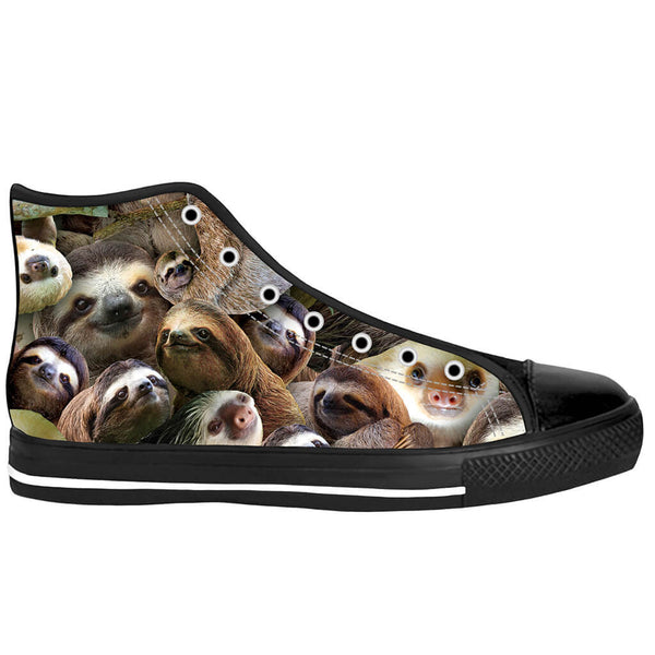 Sloth Collage Black Sole High Top Shoes