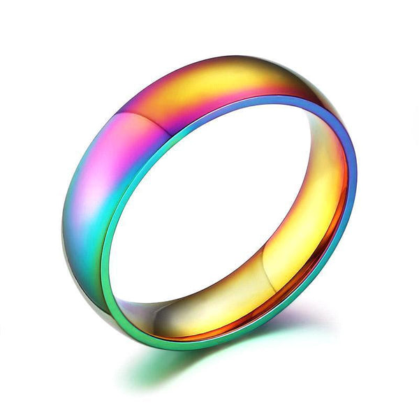 Gay Pride Rainbow Titanium Ring