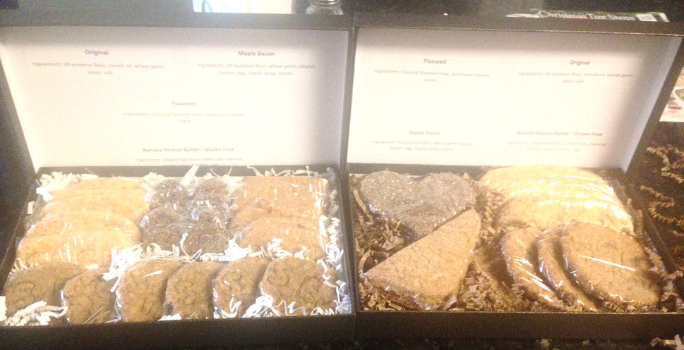dog treats, banana peanut butter, maple bacon, flaxseed, original, gourmet dog treats, dog gift idea, all natural, assorted dog treats