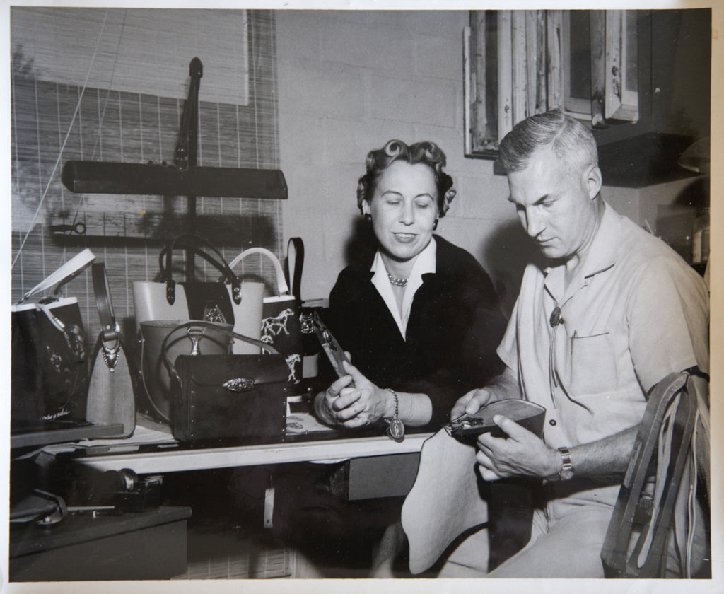 Frederic and Enid Collins Collaborating on Early Handbag Designs