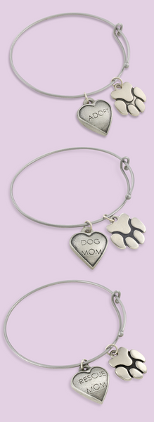 Sadie Bangle Bracelet with dog charms