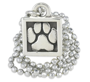 sterling silver paw print necklace, dog jewelry for people