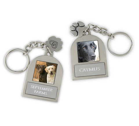 photo keychain double sided with paw print charm