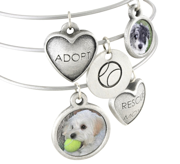 Sadie Custom Dog Charm Bangle Photo Bracelet