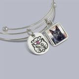 Chloe Photo Bangle Bracelet with Pet Charms - Photo Jewelry & Pet Memorial Jewelry