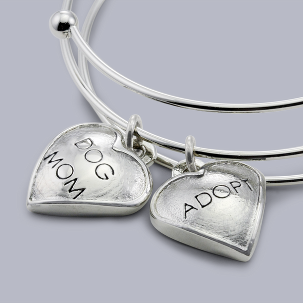 "Chloe ""Dog Mom"" & ""Adopt"" Rhodium Plated Pet Charm Bangle Bracelet for Dog Moms"